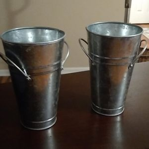 Set of Galvanized Vases